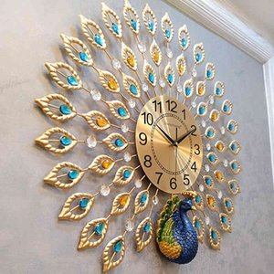Wholesale chinese calendars resale online - Heat Chinese Creative Simple Modern Home D Peacock Wall Living Room Mute Fashion Decorative Quartz Clock
