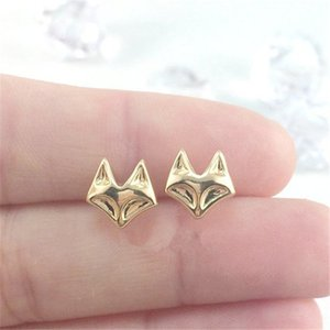 Wholesale dainty stud earrings resale online - 10Pair Gold Silver Dainty Tiny Fox Stud Earrings Cute Cat Head Face Earring Studs Animal Jewelry for women