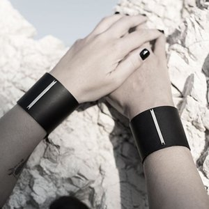 Wholesale european jewelry newest designs resale online - Newest Black Genuine Leather for Women Punk Simple Blank Design Amazing Width Warp Bracelet Homme Jewelry