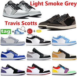 lichter-laser  großhandel-Mit Keychain s Low Basketballschuhe Light Smoke Grey Travis Scotts Shadow Trainer UNC Hyper Royal Laser Blue Männer Frauen leiten Turnschuhe