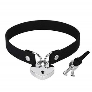 Wholesale neck collar metal lock resale online - yutong Metal Lock Heart Choker Necklaces Collar Women Pu Leather Black Gothic Choker necklace on neck Lock goth jewelry Collier femme