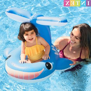 Wholesale ski boats resale online - Swimming ring Intex smiling face Blue Whale Baby seat boat children s swimming circle water skiing