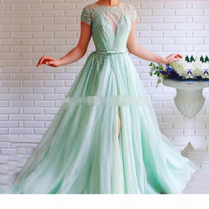 Wholesale short mint green party dress resale online - Mint Green Prom Dress crew Cap short Sleeves side slit Beaded with Pearls A Line Tulle Sashes Backless Long Formal Evening Gown for Party