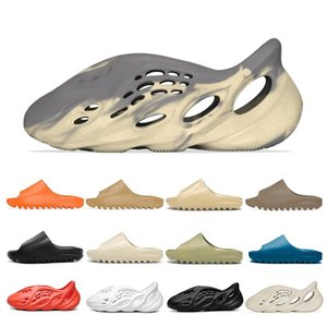 Wholesale white lace slippers for sale - Group buy kanye Sandals slip on Bone slide foam runner men women slippers Enflame Orange Royal Blue sandal Desert sand Resin Moon Grey Earth Brown triple black white west