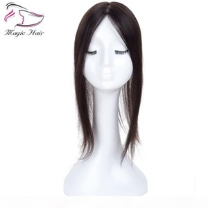 Wholesale hair topper for sale - Group buy Natural Black Remy Hair Women Topper For Women Free Part X5 Inch Silk Base Clip in Toupee Real Remy Human Hair Toupee