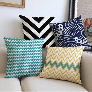 Wholesale chair covers stripes for sale - Group buy Creative Geometry Colourful Wave Stripe Pattern Throw Pillow Case Home Office Chair Sofa Decorative Cushion Cover x45cm Cushion Decorative