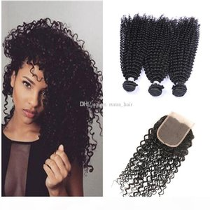 Wholesale malaysian jerry curl hair resale online - 8A malaysian curly hair with closure jerry curl human hair bundles with lace closures malaysian kinky curly maylasian hair with closure