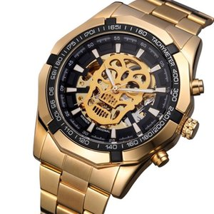 Wholesale tungsten strip for sale - Group buy Fashion Trend Skull Hollow Out Automatic Mechanical Watch Steel Strip Luminous Men s Student Sports Wristwatches