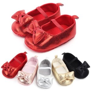 ingrosso stivaletti per bambini-Primo Walker Princess Baby Girls Scarpe Glitter Neonato Stivaletti Soft Sole Toddler Kids Crib Shoess Party Bowknot Anti slip m