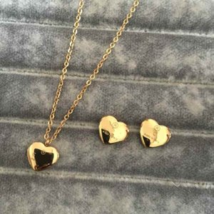 Wholesale gold pendants resale online - High Polished Classic Design Women Earrings Necklace Stainless Steel Gold Silver Rose Colors Sets Heart Love Pendant Trendy Jewelry