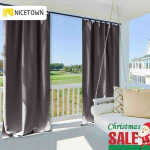 Wholesale grommets for curtains resale online - Sheer Curtains Patio Nicetown Waterproof Blackout Garden Curtain Tab Top Grommet Thermal Insulated Outdoor Curtains for Beach Gazebo L0320