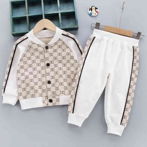 Wholesale childrens clothing for sale - Group buy Sports Suit For Children New Products For Spring Childrens Clothing Bow Print Coat Fashion Boutique Boys Girls Outfits X0401