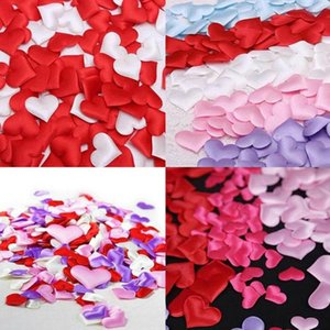 Wholesale weddings venues for sale - Group buy 100Pcs Love Heart Padded Confetti Fabric Throwing Petals Table Wedding Party Venue Romantic Decoration Decorative Flowers Wreaths