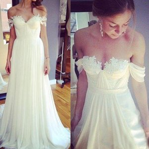 Wholesale simple beach style wedding dresses resale online - Off Shoulder White A Line Bridal Sweep Spring Garden Beach Wedding Dresses Chiffon Bridal Dress Simple Style Customized Made