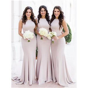 Wholesale silver pricing chart resale online - Price Mermaid Bridesmaids Dresses High Neck Elastic Satin Bridesmaid Dress Sleeveless for teens Wedding Party