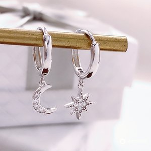 Wholesale men's hoop earrings for sale - Group buy Star Moon Asymmetrical Sterling Silver Cubic Zirconia Hoop Earrings For Women Fashion Cz Circle Ear Ring Earings Jewelry Q2