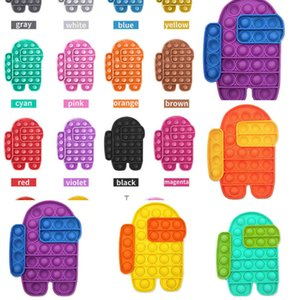 ingrosso robot cartoni-70 PZ DHL Push Bubble Board Pop It Fidget Giocattoli sensoriali Contrasto Colore del contrasto Robot Cartoon Squeeze Puzzle Silicone Finger Fun Game Game Teether Stress Sbiat Sfera G3972WS