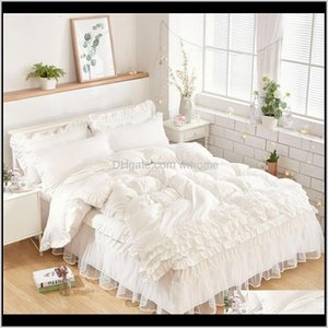 Wholesale queen size bedding sets for kids resale online - Supplies Textiles Home Garden Luxury White Bedding Sets For Kids Girls Queen Twin King Size Duvet Er Lace Bed Skirt Set Pillowcase Wedding