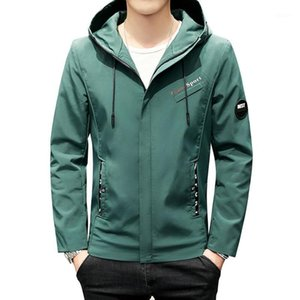 Wholesale armband jacket resale online - Green Black Beige Jacket Men Casual Hooded Coat Letter Print Armband New Fashion Clothing Zipper Windbreaker Jackets Male1