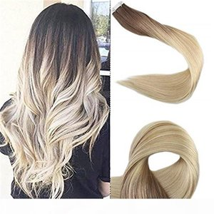 Wholesale taping hair extensions resale online - Balayage European Brazilian Peruvian Raw Inaian cuticle aligned hair Straight Tape In Human Hair Virgin Human Hair Extensions g