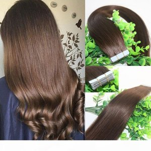 Wholesale taping hair extensions for sale - Group buy Tape In Human Hair Extensions Medium Brown gram Remy Tape Hair Extensions Skin Weft Thick End