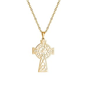 Wholesale gold talisman resale online - Vintage Pendant Hollow Celtics Cross Stainless Steel Jewelry Talisman Christian Necklace k Gold Plated