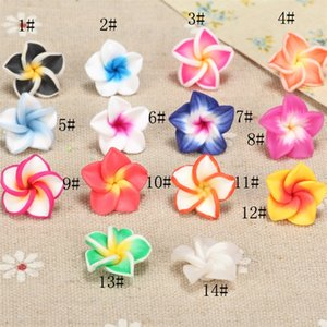 Wholesale flowers plumeria resale online - Colorful Polymer Clay Plumeria Flower Beads mm Beads Loose Beads Hot sell Jewelry diy Q2
