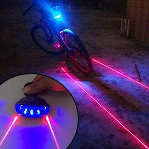 Wholesale bicycles light resale online - Waterproof Bike Cycling Taillights LED Laser Safety Warning Bikes Lights Bicycle Tail Bicycles Accessories Light