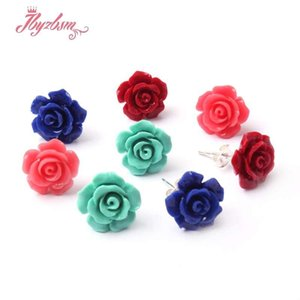 Wholesale red coral stud earrings resale online - 10mm Flower Red Blue Pink Green Coral Silver Women Stud Earrings Pair Fashion Jewelry Lady Girl Birthday XMAS Gift Dangle Chandelier