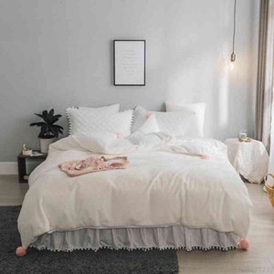 Wholesale pink white bedspread for sale - Group buy White gray pink Fleece Warm Duvet Cover Bedspread Princess Twin Queen King Size Bed Bedding set parure de lit