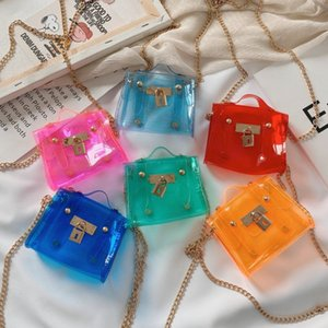 Wholesale candy color children handbags for sale - Group buy Fashion children PVC jelly handbags girls transparent one shoulder bags kids candy color messenger bag A6680