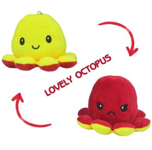 Reversible Flip Octopus Stuffed Party Doll Soft Double-sided Expression Plush Toy Baby Kids Gift Wedding Festival Supplies