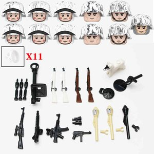 Wholesale built helmets for sale - Group buy NEW WW2 Army Snow Soldier Figures White Scarf Accessories Building Blocks Military Germany Anti Tank Weapons Helmet Bricks Toys