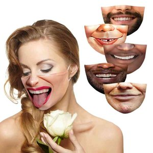 Wholesale smiling face mask resale online - Men s and women s smiling face cotton mask digital printing dust mask can insert PM2 filter