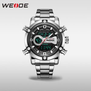 Wholesale man lcd watches resale online - Analogue Watch New Men Watch European Luxury Men Business Digital LCD Sports Movement Quartz Calendar Multiple Time WEIDE Qrmms