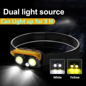 Wholesale headlamp dual resale online - Led Headlamp Portable Headlight Head Lamp Usb Torch COB Yellow Light Dual Source Outdoor Camping Lantern Headlamps