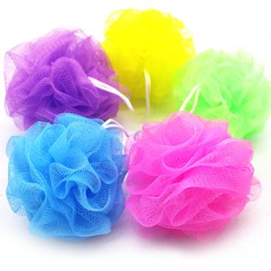 Wholesale loofah sponges resale online - 100Pcs Multi Colors G Bath Shower Sponge Pouf Loofahs Nylon Mesh Brush Shower Ball Lace Edge Mesh Bath V2