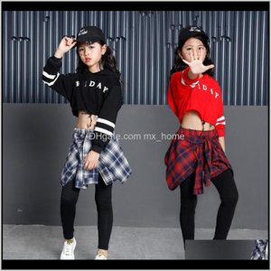 Wholesale childrens clothing for sale - Group buy Sets Childrens Sports Suits Cotton Clothing Korean Fashion Hip Hop Streetwear Teenage Girls Hoodies Sweatshirt Plaid Skirtpants Bywux