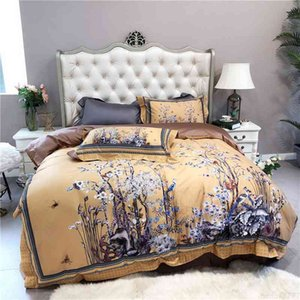vintage luxusbetten großhandel-HD Print Tree Ast Birds Yellow Vintage Duvet Cover Luxury tc Ägyptische Baumwolle Bettwäsche Königin King Size Bett Set