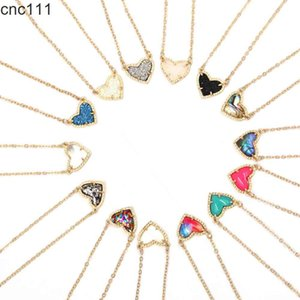 Wholesale small stone pendant necklace for sale - Group buy New Valentines Gift Faux Glitter Abalone Stone Small Heart Shaped D Resin Shell Mini Love Druzy Necklaces for Women Pendants
