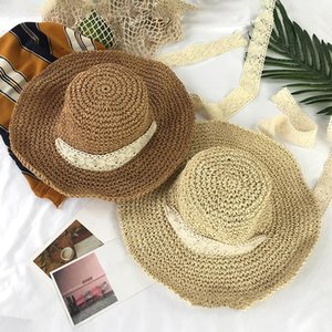 Wholesale coolest flat cap for sale - Group buy Folding Women s Straw Hat Summer Outdoor Sun Visor Holiday Cool Seaside Beach Tide Hats Sunshade Flat Cap Visors Wide Brim