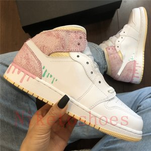 Wholesale floor paintings for sale - Group buy Paint Drip Women Sports shoes White Pink Quartz Trainers Runner Barely Orange Apricot outdoor Skate Sneakers Mid Milan casual shoe