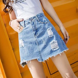 Wholesale short skirt trousers resale online - skirts Denim Women s Light Trousers Skirt Summer Korean Version Large Size Thin Short with Holes Word and Buttock Skirt