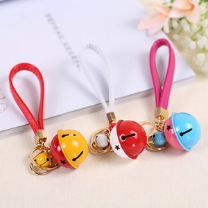 Wholesale car two color resale online - New Two Color Bell Ring Creative Gift Diy Key Chain Pu Leather Rope Car Bag Pendant