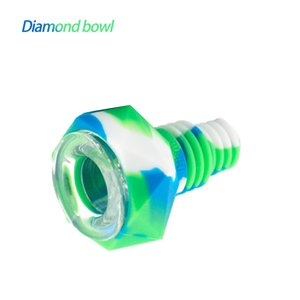 Wholesale glass diamond bowl resale online - Waxmaid Diamond Shaped silicone glass bowl for smoking bongs suits mm mm joints six colors with a gift box package ship from CA local warehouse