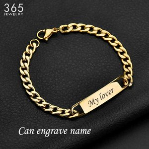 Wholesale customized stainless bracelets resale online - Bracelet Fashion Customized Words Bar Chain for Men Stainless Steel Adjustable Engraving Name Bangle Party Jewelry