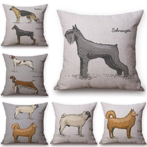 Wholesale pug cushions for sale - Group buy Dog Dachshund Pattern Cushion Cover Pug Wolf Printing Cotton Linen Throw Pillows Car Sofa Decorative Pillow Case Cushion Decorative