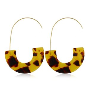 Wholesale tortoises shell resale online - Leopard Brand Design Acrylic Earrings Acetate Tortoise Shell Semicircle Dangle Earrings Big Hook Resin Drop Earring For Women Q2