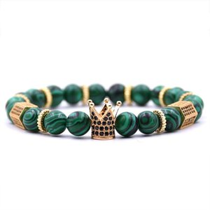 Wholesale kinds crown resale online - Kang Hua Glamour Jewelry Kinds mm Stone Bracelet Pave CZ Crown Bracelets For Women Men Charm Beautiful Beaded Strands