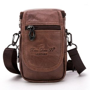 Wholesale vintage fanny pack resale online - Men Genuine Leather trend Waist Pack Shoulder Crossbody Bag Vintage Belt Waist Fanny Pack Cigarette Case Bag1